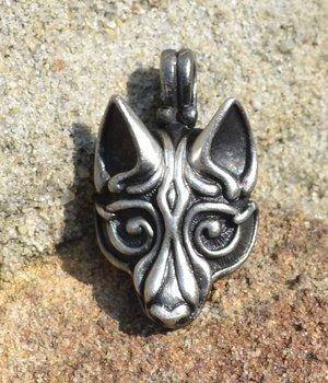 VIKING Wolf hoofd, verzilverd hanger
