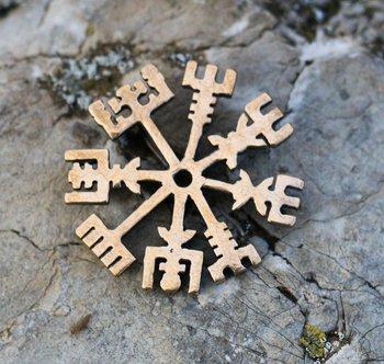 Vegvísir ijslandse rune Icelandic brons