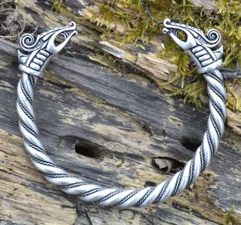 Viking armband Dreki,  verzilverd