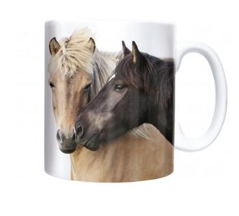 Mok met ijslandse paarden
