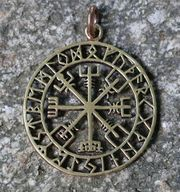 Vegvísir met rune tekens brons